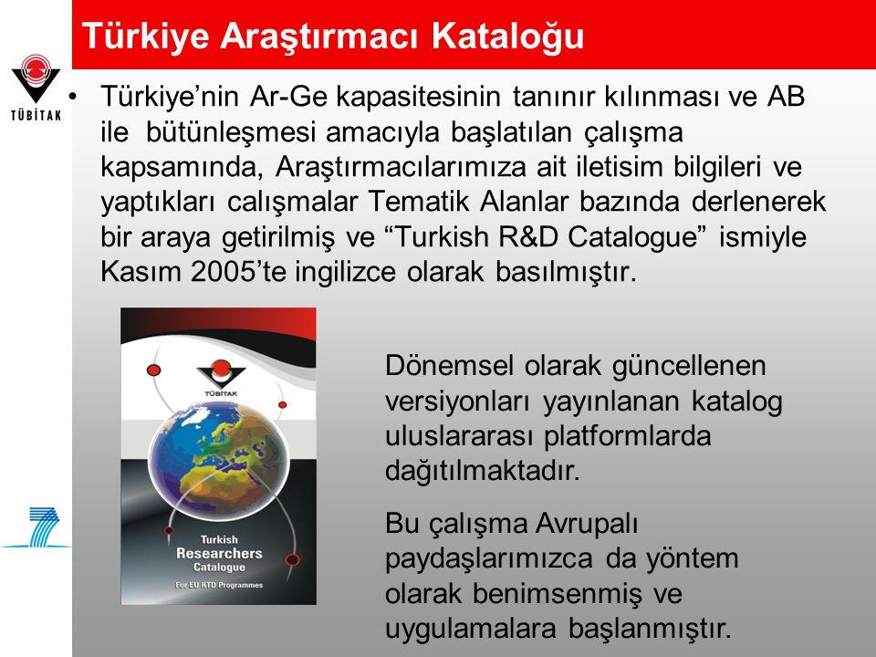 •Türkiye'nin Ar-Ge kapasitesinin tanınır kılınması ve AB ile bütünleşmesi amacıyla başlatılan çalışma kapsamında, Araştırmacılarımıza ait iletisim bilgileri ve yaptıkları calışmalar Tematik Alanlar bazında derlenerek bir araya getirilmiş ve Turkish R&D Catalogue ismiyle Kasım 2005'te ingilizce olarak basılmıştır.