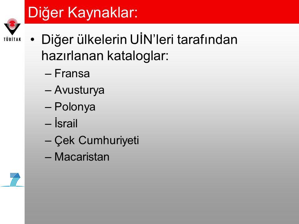 Diğer Kaynaklar: •Diğer ülkelerin UİN'leri tarafından hazırlanan kataloglar: –Fransa –Avusturya –Polonya –İsrail –Çek Cumhuriyeti –Macaristan