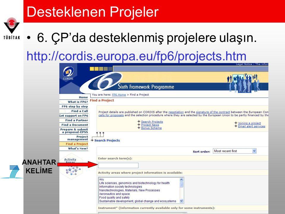 Desteklenen Projeler •6.ÇP'da desteklenmiş projelere ulaşın.