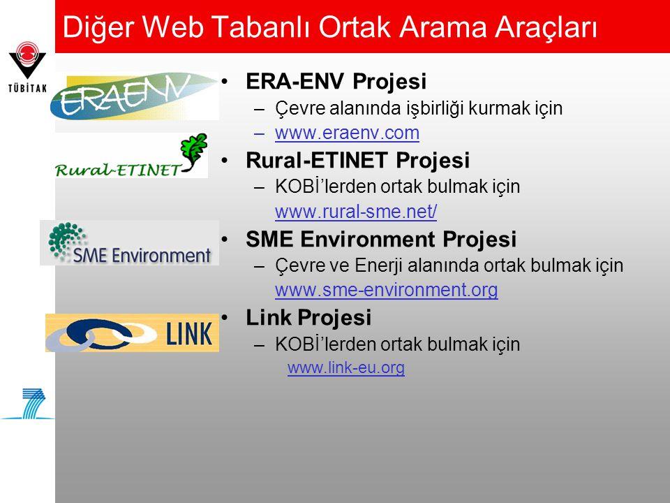 Diğer Web Tabanlı Ortak Arama Araçları •ERA-ENV Projesi –Çevre alanında işbirliği kurmak için –www.eraenv.com •Rural-ETINET Projesi –KOBİ'lerden ortak bulmak için www.rural-sme.net/ •SME Environment Projesi –Çevre ve Enerji alanında ortak bulmak için www.sme-environment.org •Link Projesi –KOBİ'lerden ortak bulmak için www.link-eu.org