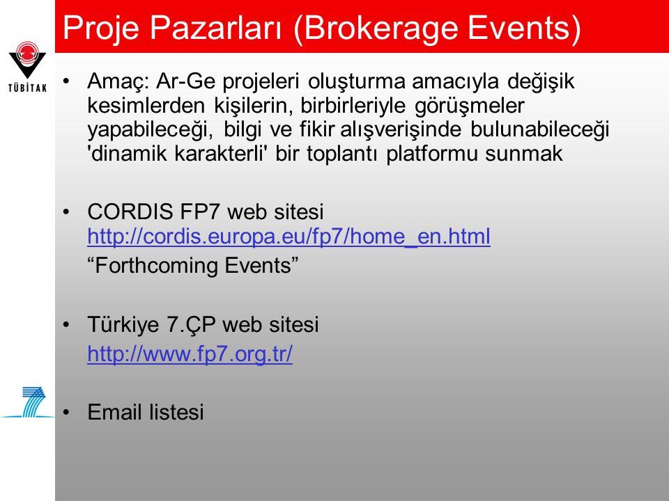 Proje Pazarları (Brokerage Events) •Amaç: Ar-Ge projeleri oluşturma amacıyla değişik kesimlerden kişilerin, birbirleriyle görüşmeler yapabileceği, bilgi ve fikir alışverişinde bulunabileceği dinamik karakterli bir toplantı platformu sunmak •CORDIS FP7 web sitesi http://cordis.europa.eu/fp7/home_en.html Forthcoming Events •Türkiye 7.ÇP web sitesi http://www.fp7.org.tr/ •Email listesi