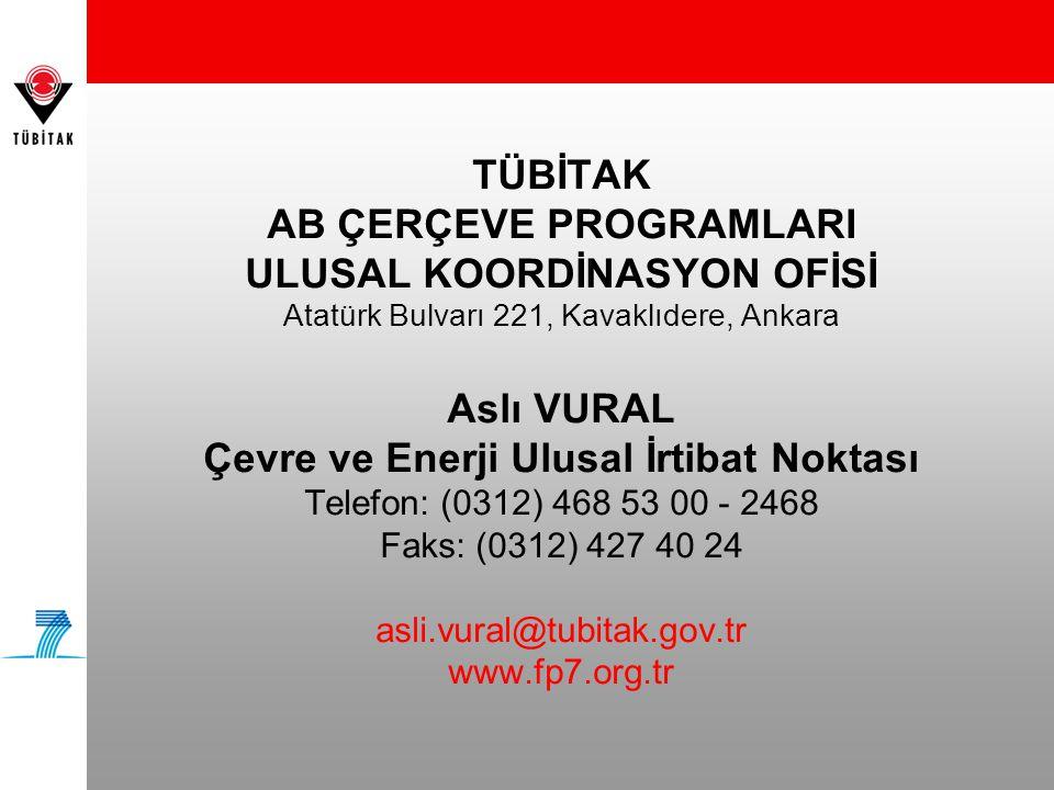 TÜBİTAK AB ÇERÇEVE PROGRAMLARI ULUSAL KOORDİNASYON OFİSİ Atatürk Bulvarı 221, Kavaklıdere, Ankara Aslı VURAL Çevre ve Enerji Ulusal İrtibat Noktası Telefon: (0312) 468 53 00 - 2468 Faks: (0312) 427 40 24 asli.vural@tubitak.gov.tr www.fp7.org.tr