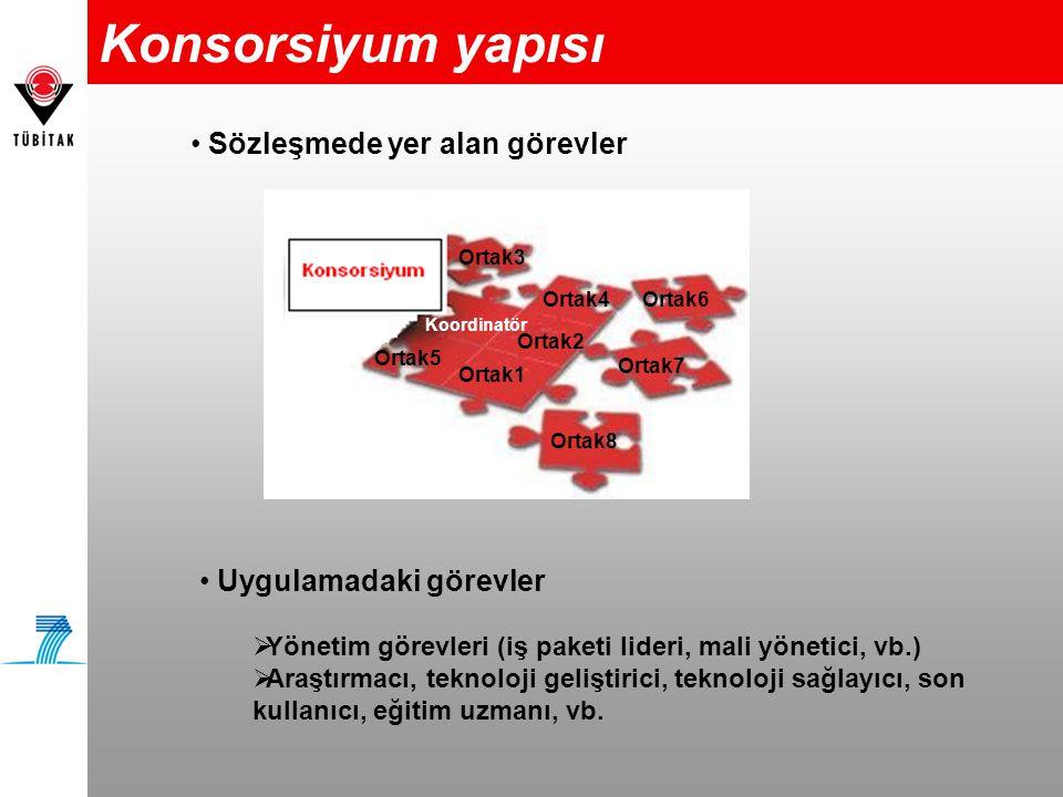 Konsorsiyum yapısı • Sözleşmede yer alan görevler Koordinatör Ortak6 Ortak5 Ortak4 Ortak1 Ortak2 Ortak3 Ortak8 Ortak7 • Uygulamadaki görevler  Yöneti