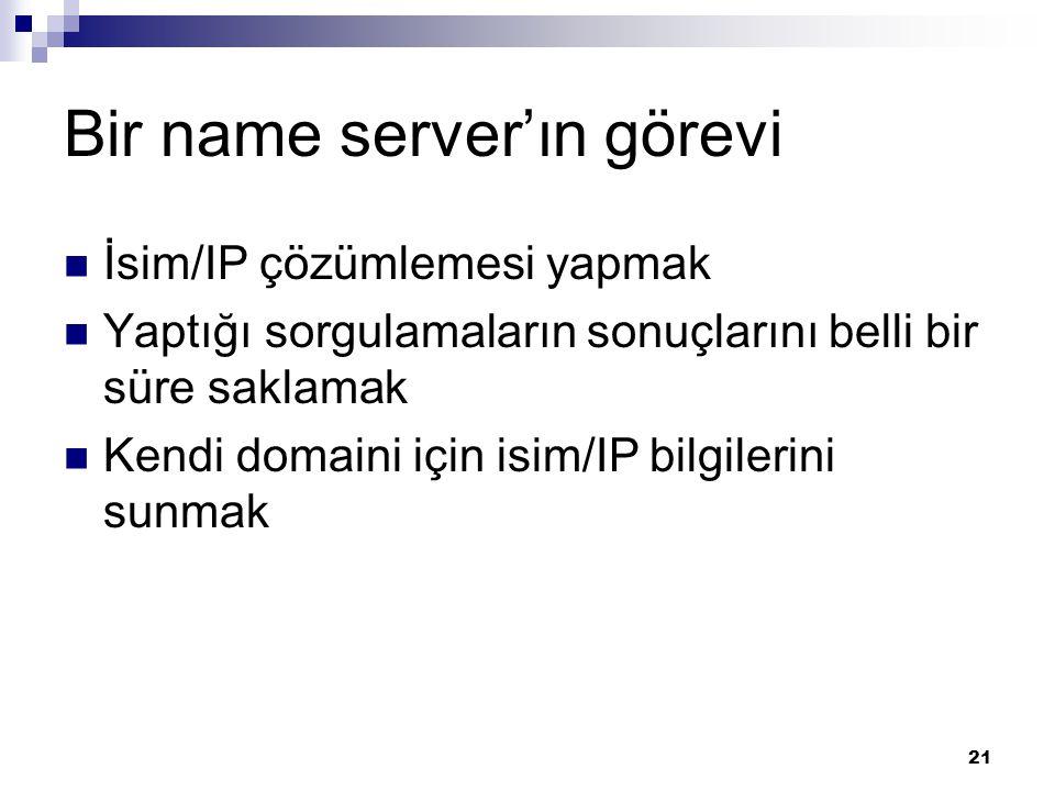 21 Bir name server'ın görevi  İsim/IP çözümlemesi yapmak  Yaptığı sorgulamaların sonuçlarını belli bir süre saklamak  Kendi domaini için isim/IP bilgilerini sunmak