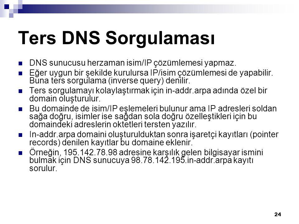 24 Ters DNS Sorgulaması  DNS sunucusu herzaman isim/IP çözümlemesi yapmaz.  Eğer uygun bir şekilde kurulursa IP/isim çözümlemesi de yapabilir. Buna