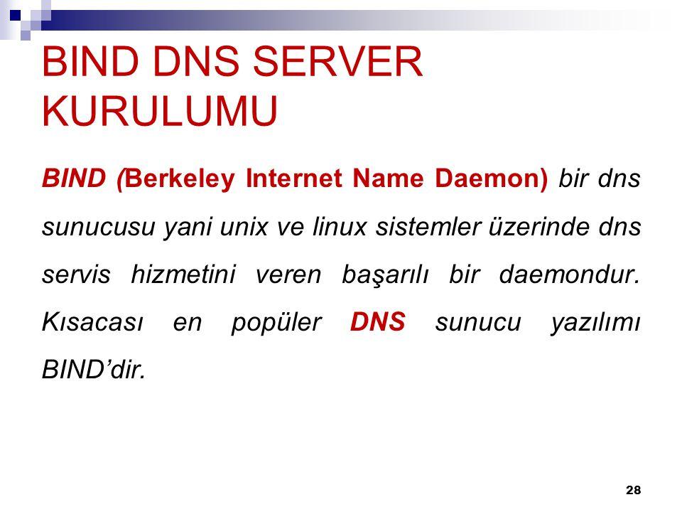BIND DNS SERVER KURULUMU BIND (Berkeley Internet Name Daemon) bir dns sunucusu yani unix ve linux sistemler üzerinde dns servis hizmetini veren başarı