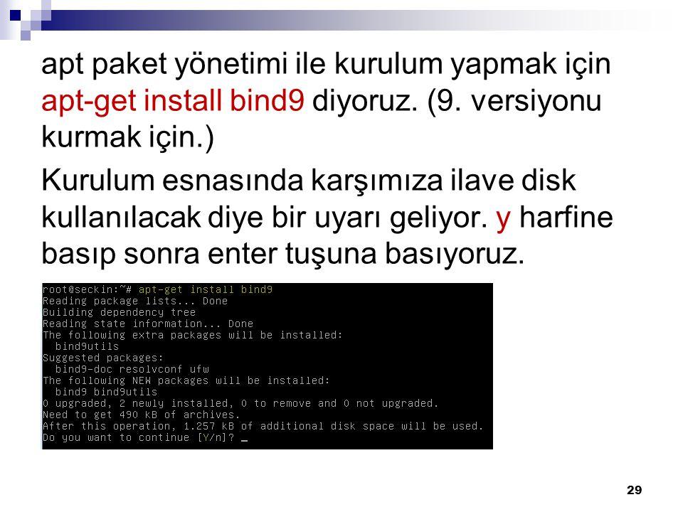 apt paket yönetimi ile kurulum yapmak için apt-get install bind9 diyoruz. (9. versiyonu kurmak için.) Kurulum esnasında karşımıza ilave disk kullanıla