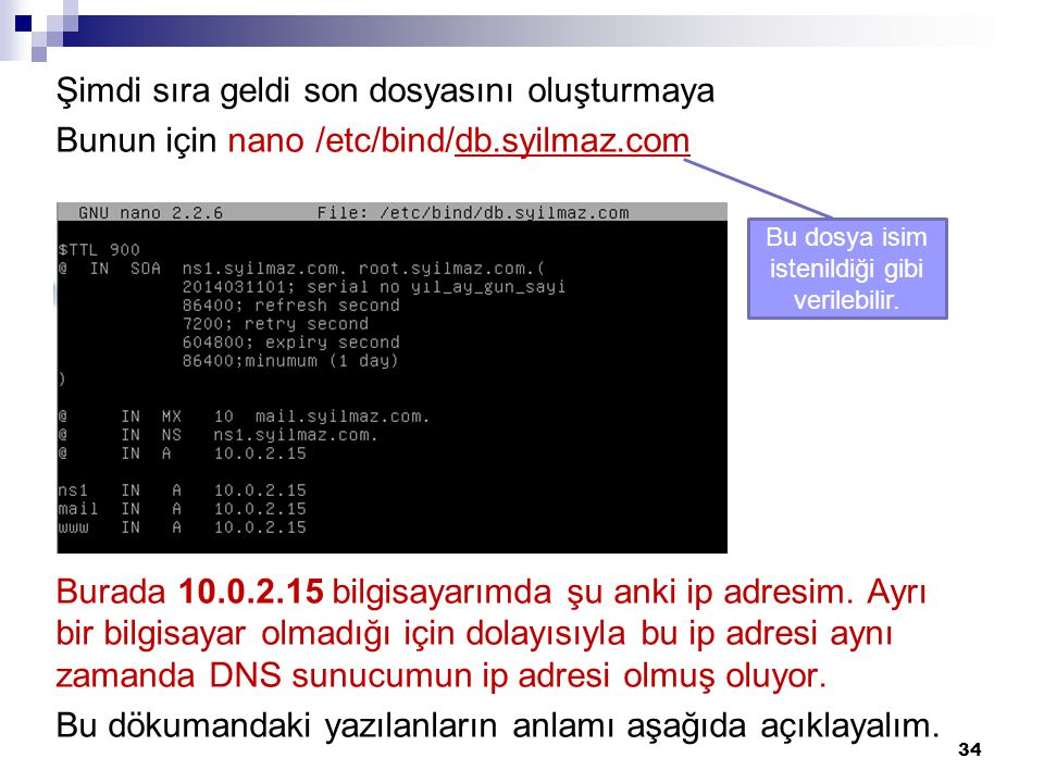 Şimdi sıra geldi son dosyasını oluşturmaya Bunun için nano /etc/bind/db.syilmaz.com Burada 10.0.2.15 bilgisayarımda şu anki ip adresim. Ayrı bir bilgi