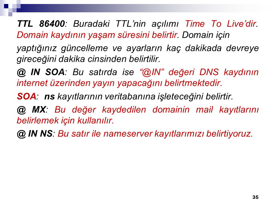 TTL 86400: Buradaki TTL'nin açılımı Time To Live'dir.