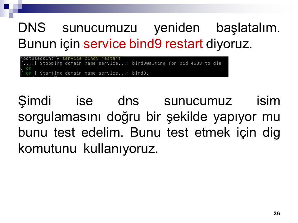 DNS sunucumuzu yeniden başlatalım. Bunun için service bind9 restart diyoruz. Şimdi ise dns sunucumuz isim sorgulamasını doğru bir şekilde yapıyor mu b