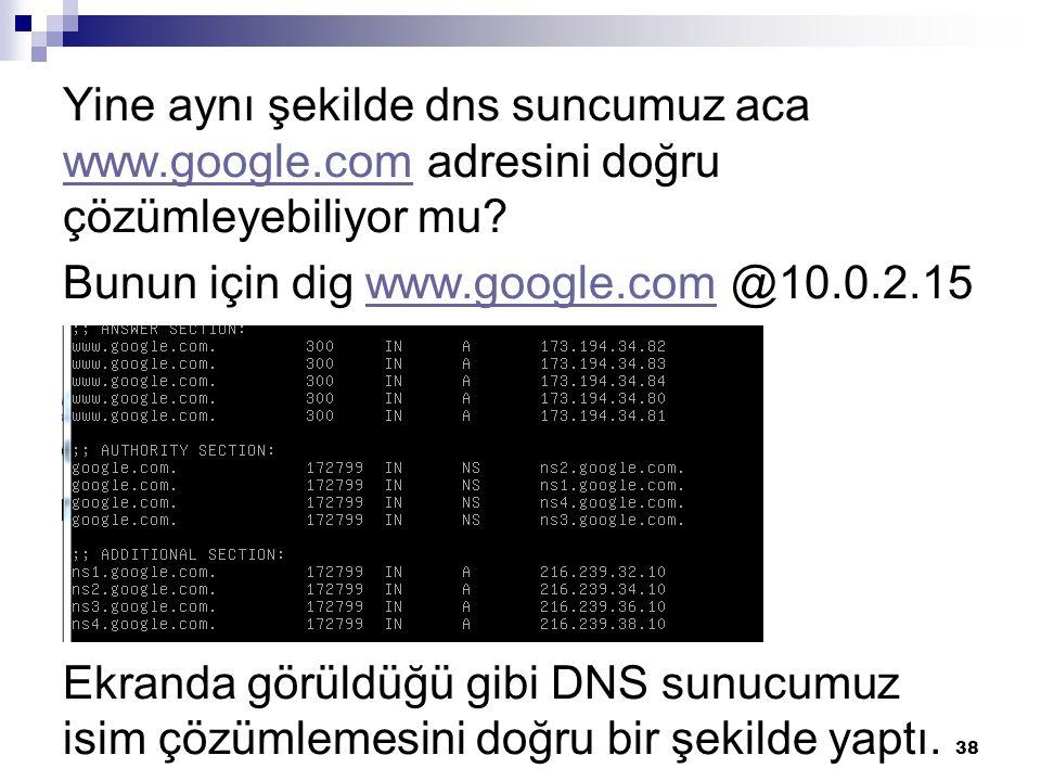 Yine aynı şekilde dns suncumuz aca www.google.com adresini doğru çözümleyebiliyor mu? www.google.com Bunun için dig www.google.com @10.0.2.15www.googl