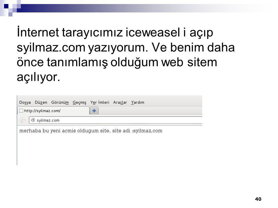İnternet tarayıcımız iceweasel i açıp syilmaz.com yazıyorum.