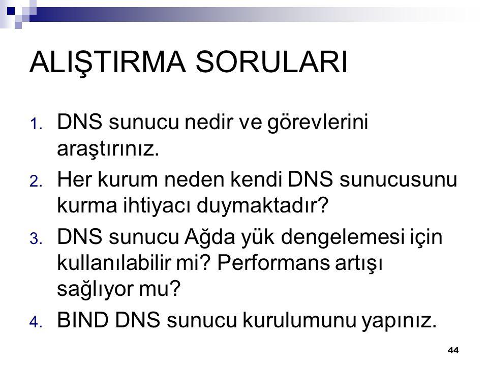 ALIŞTIRMA SORULARI 1. DNS sunucu nedir ve görevlerini araştırınız. 2. Her kurum neden kendi DNS sunucusunu kurma ihtiyacı duymaktadır? 3. DNS sunucu A