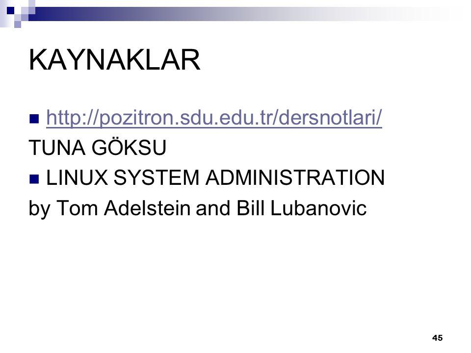 KAYNAKLAR  http://pozitron.sdu.edu.tr/dersnotlari/ http://pozitron.sdu.edu.tr/dersnotlari/ TUNA GÖKSU  LINUX SYSTEM ADMINISTRATION by Tom Adelstein and Bill Lubanovic 45