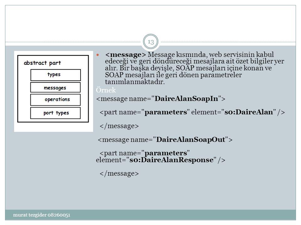  PortType kısmında ise, her bir web servisi metodu için birer operasyon tanımlaması yapılır.