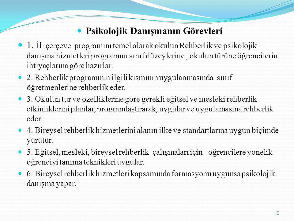  Psikolojik Danışmanın Görevleri  1. İl çerçeve programını temel alarak okulun Rehberlik ve psikolojik danışma hizmetleri programını sınıf düzeyleri