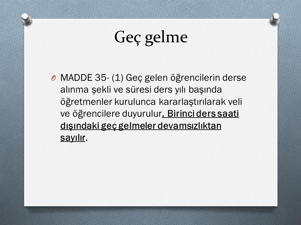 Devam-devamsızlık ve ilişik kesme O MADDE 36- (1) Okula devam zorunludur.