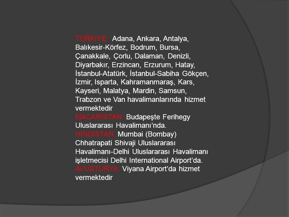TÜRKİYE : Adana, Ankara, Antalya, Balıkesir-Körfez, Bodrum, Bursa, Çanakkale, Çorlu, Dalaman, Denizli, Diyarbakır, Erzincan, Erzurum, Hatay, İstanbul-Atatürk, İstanbul-Sabiha Gökçen, İzmir, Isparta, Kahramanmaraş, Kars, Kayseri, Malatya, Mardin, Samsun, Trabzon ve Van havalimanlarında hizmet vermektedir MACARİSTAN :Budapeşte Ferihegy Uluslararası Havalimanı'nda.