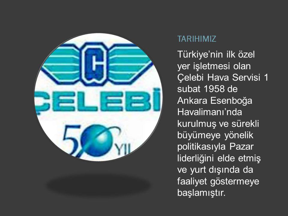 TARIHIMIZ Türkiye'nin ilk özel yer işletmesi olan Çelebi Hava Servisi 1 subat 1958 de Ankara Esenboğa Havalimanı'nda kurulmuş ve sürekli büyümeye yönelik politikasıyla Pazar liderliğini elde etmiş ve yurt dışında da faaliyet göstermeye başlamıştır.