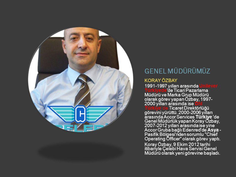 GENEL MÜDÜRÜMÜZ KORAY ÖZBAY 1991-1997 yılları arasında Unilever Türkiyede de Ticari Pazarlama Müdürü ve Marka Grup Müdürü olarak görev yapan Özbay, 1997- 2000 yılları arasında ise Dhl Türkiye´de Ticaret Direktörlüğü görevini yürüttü.