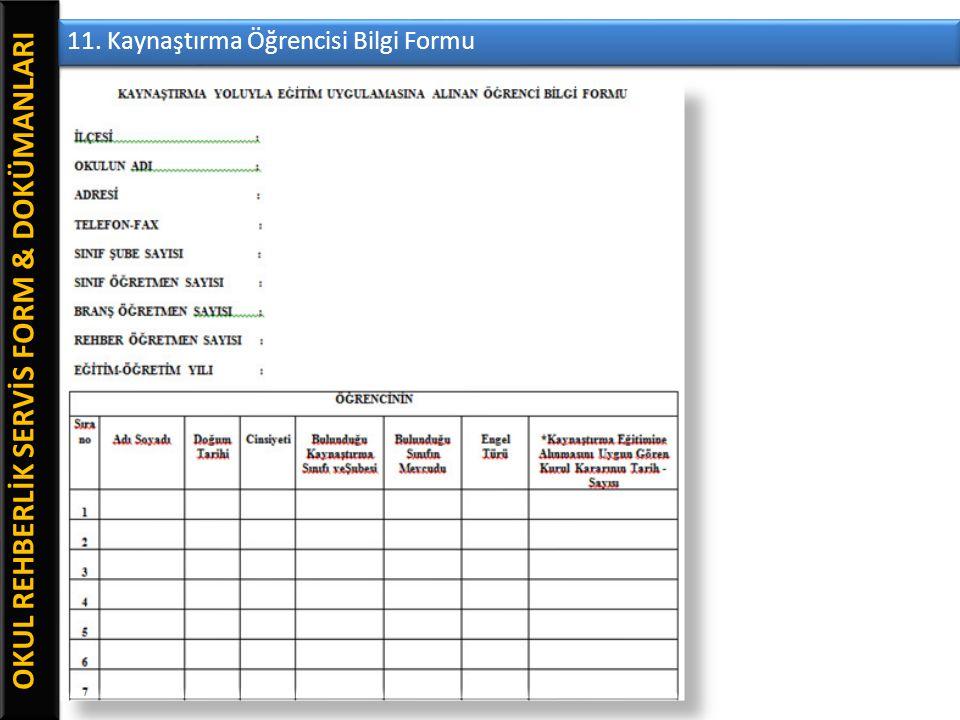 OKUL REHBERLİK SERVİS FORM & DOKÜMANLARI 11. Kaynaştırma Öğrencisi Bilgi Formu