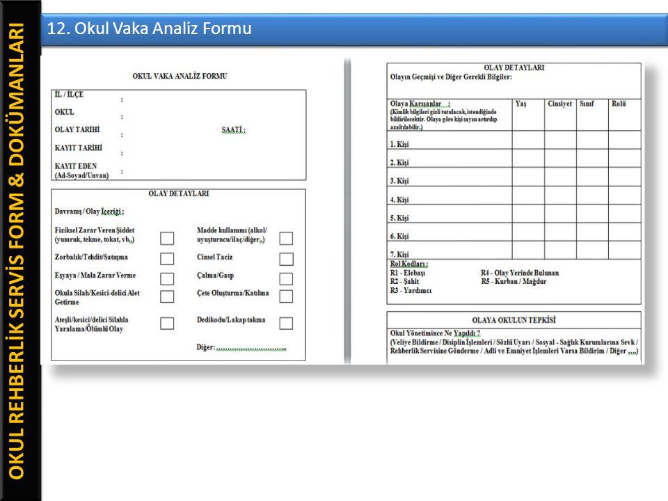 OKUL REHBERLİK SERVİS FORM & DOKÜMANLARI 12. Okul Vaka Analiz Formu