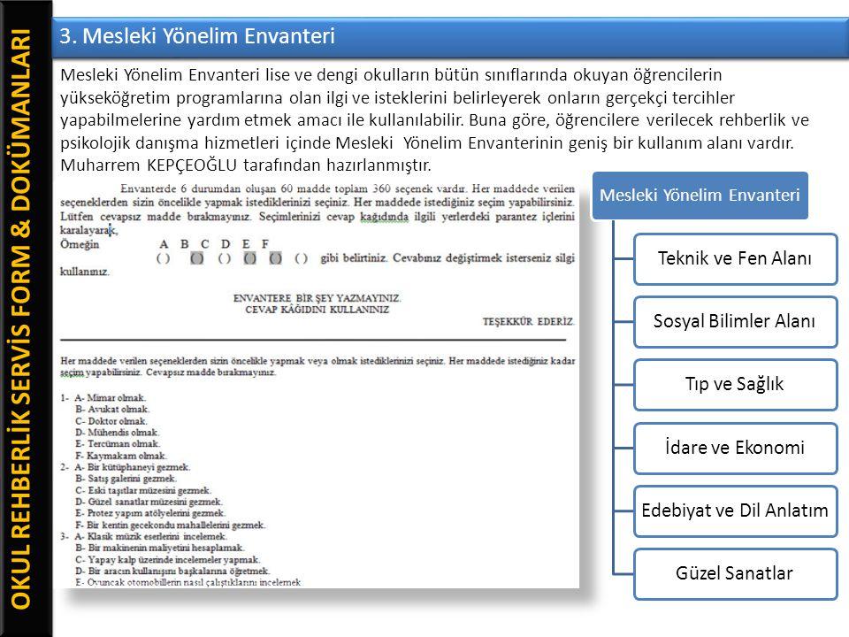 OKUL REHBERLİK SERVİS FORM & DOKÜMANLARI 3. Mesleki Yönelim Envanteri Mesleki Yönelim Envanteri lise ve dengi okulların bütün sınıflarında okuyan öğre