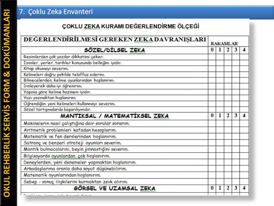 OKUL REHBERLİK SERVİS FORM & DOKÜMANLARI 7. Çoklu Zeka Envanteri