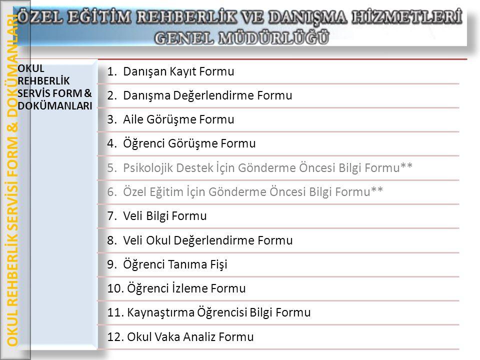 OKUL REHBERLİK SERVİS FORM & DOKÜMANLARI 1. Danışan Kayıt Formu 2. Danışma Değerlendirme Formu 3. Aile Görüşme Formu 4. Öğrenci Görüşme Formu 5. Psiko