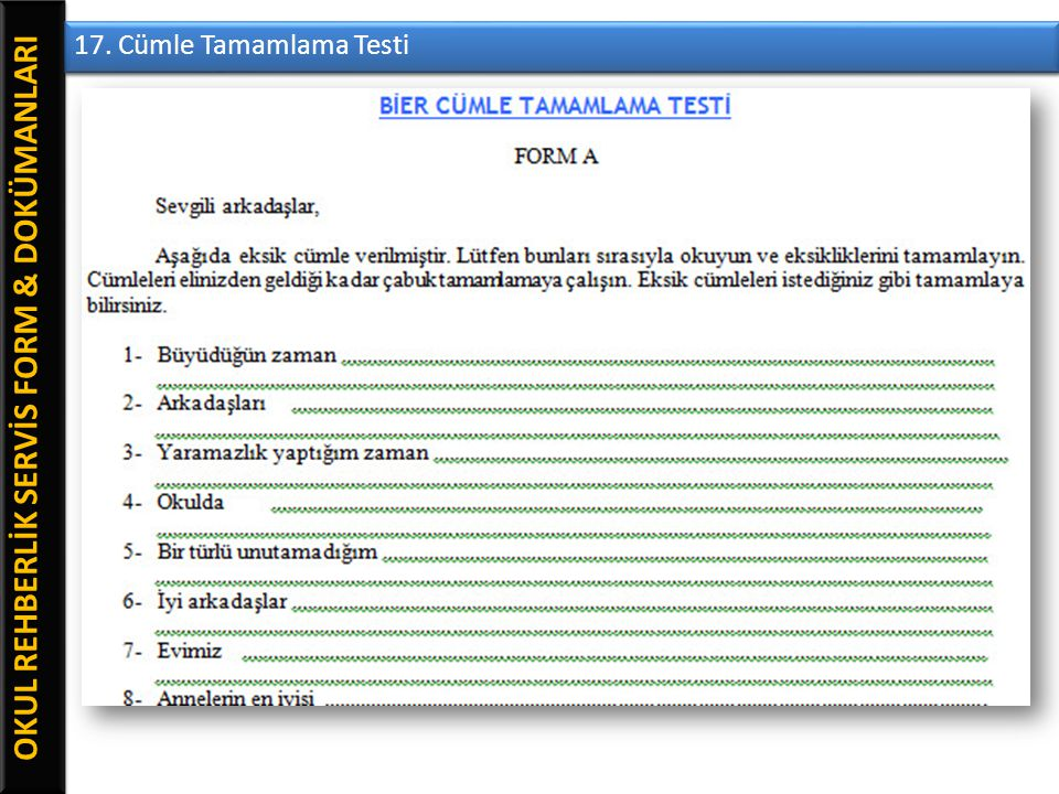 OKUL REHBERLİK SERVİS FORM & DOKÜMANLARI 17. Cümle Tamamlama Testi