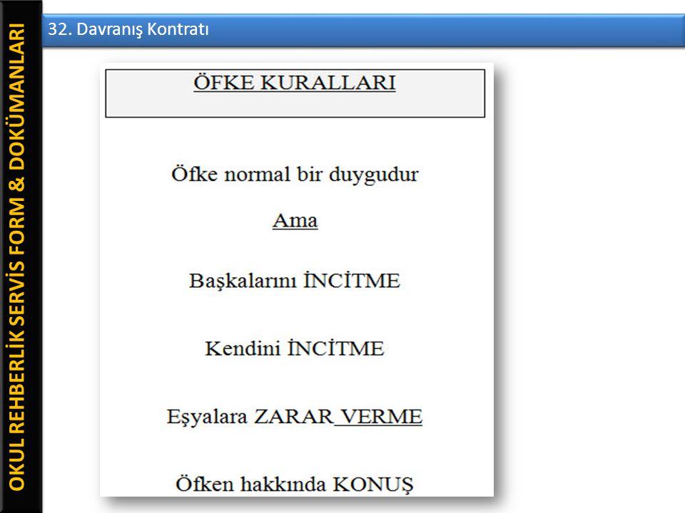 OKUL REHBERLİK SERVİS FORM & DOKÜMANLARI 32. Davranış Kontratı