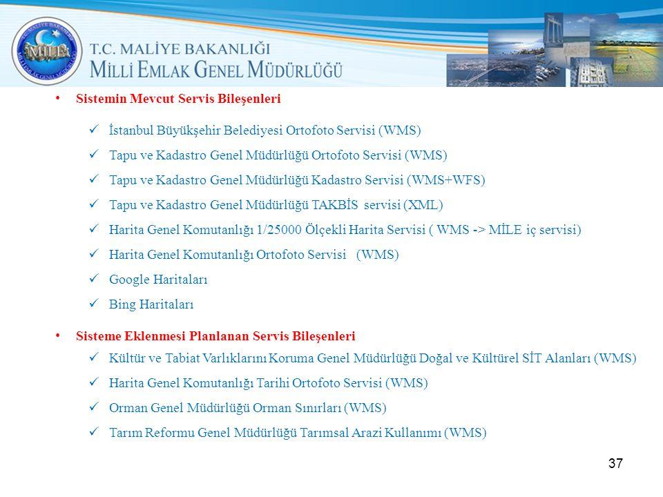 • Sistemin Mevcut Servis Bileşenleri  İstanbul Büyükşehir Belediyesi Ortofoto Servisi (WMS)  Tapu ve Kadastro Genel Müdürlüğü Ortofoto Servisi (WMS)  Tapu ve Kadastro Genel Müdürlüğü Kadastro Servisi (WMS+WFS)  Tapu ve Kadastro Genel Müdürlüğü TAKBİS servisi (XML)  Harita Genel Komutanlığı 1/25000 Ölçekli Harita Servisi ( WMS -> MİLE iç servisi)  Harita Genel Komutanlığı Ortofoto Servisi (WMS)  Google Haritaları  Bing Haritaları • Sisteme Eklenmesi Planlanan Servis Bileşenleri  Kültür ve Tabiat Varlıklarını Koruma Genel Müdürlüğü Doğal ve Kültürel SİT Alanları (WMS)  Harita Genel Komutanlığı Tarihi Ortofoto Servisi (WMS)  Orman Genel Müdürlüğü Orman Sınırları (WMS)  Tarım Reformu Genel Müdürlüğü Tarımsal Arazi Kullanımı (WMS) 37