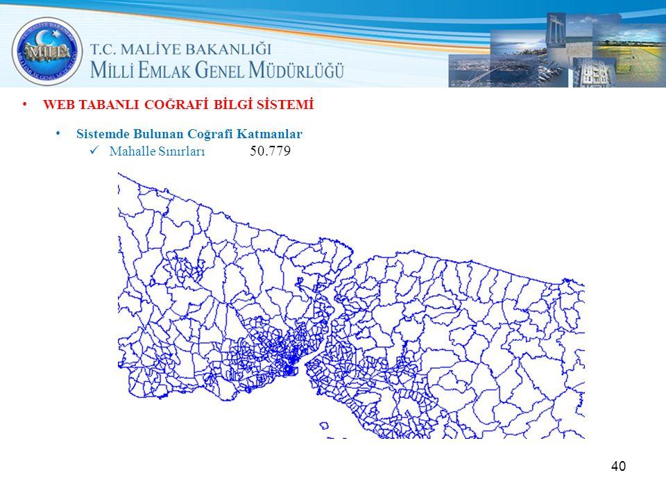 • WEB TABANLI COĞRAFİ BİLGİ SİSTEMİ • Sistemde Bulunan Coğrafi Katmanlar  Mahalle Sınırları 50.779 40