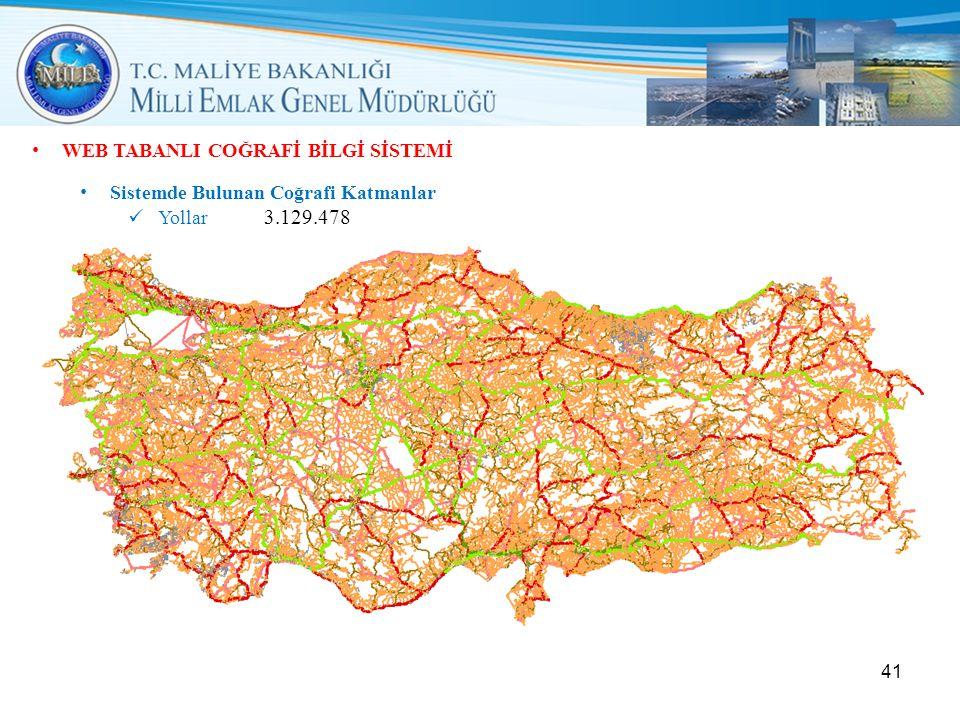 • WEB TABANLI COĞRAFİ BİLGİ SİSTEMİ • Sistemde Bulunan Coğrafi Katmanlar  Yollar 3.129.478 41