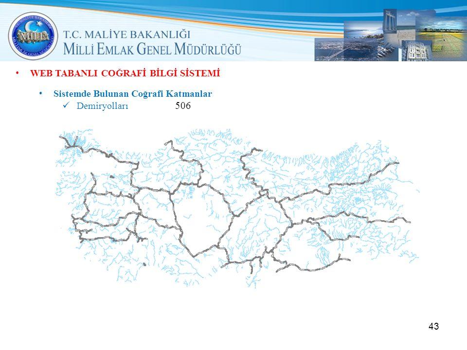 • WEB TABANLI COĞRAFİ BİLGİ SİSTEMİ • Sistemde Bulunan Coğrafi Katmanlar  Demiryolları 506 43