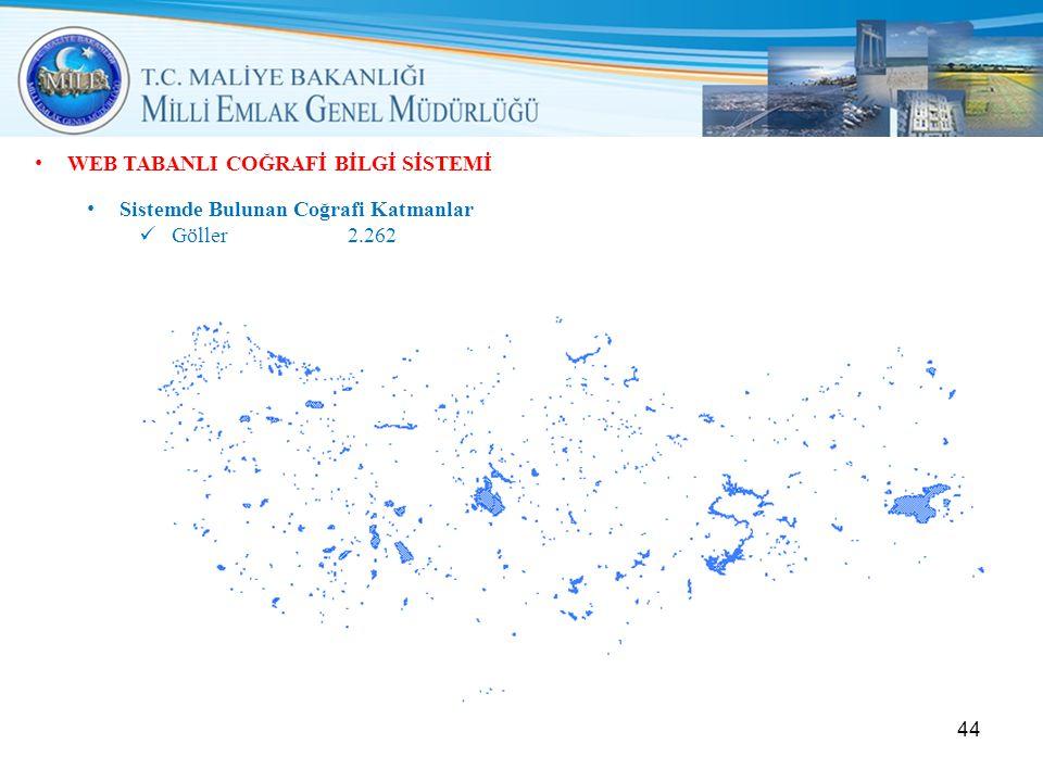• WEB TABANLI COĞRAFİ BİLGİ SİSTEMİ • Sistemde Bulunan Coğrafi Katmanlar  Göller2.262 44