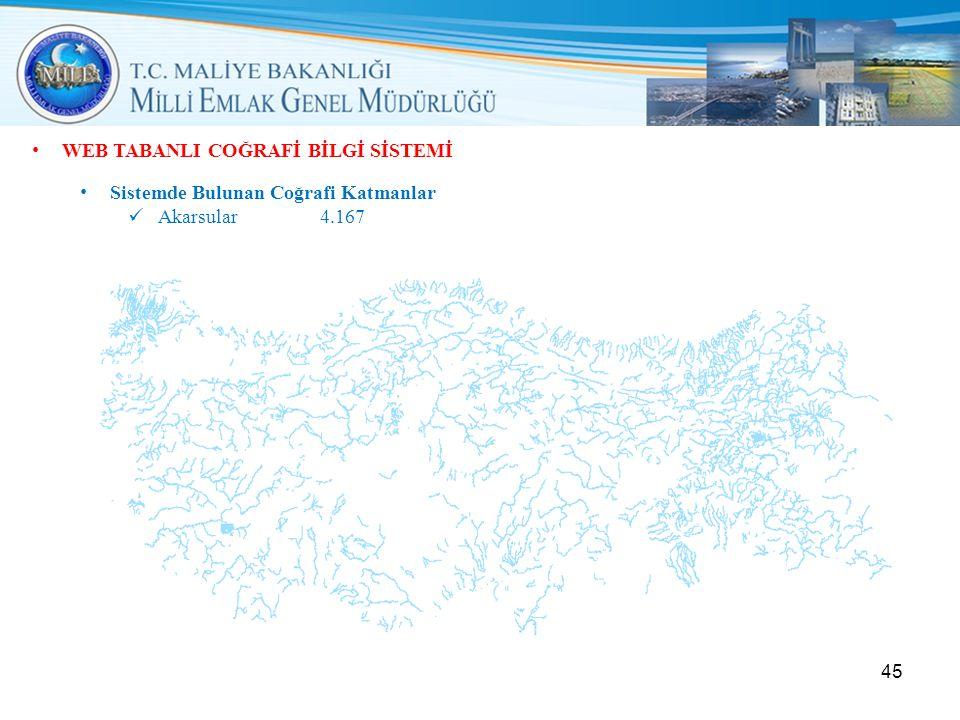 • WEB TABANLI COĞRAFİ BİLGİ SİSTEMİ • Sistemde Bulunan Coğrafi Katmanlar  Akarsular4.167 45