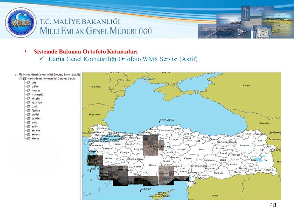 • Sistemde Bulunan Ortofoto Katmanları  Harita Genel Komutanlığı Ortofoto WMS Servisi (Aktif) 48