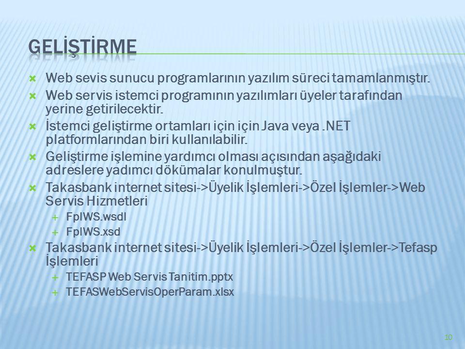  Web sevis sunucu programlarının yazılım süreci tamamlanmıştır.  Web servis istemci programının yazılımları üyeler tarafından yerine getirilecektir.