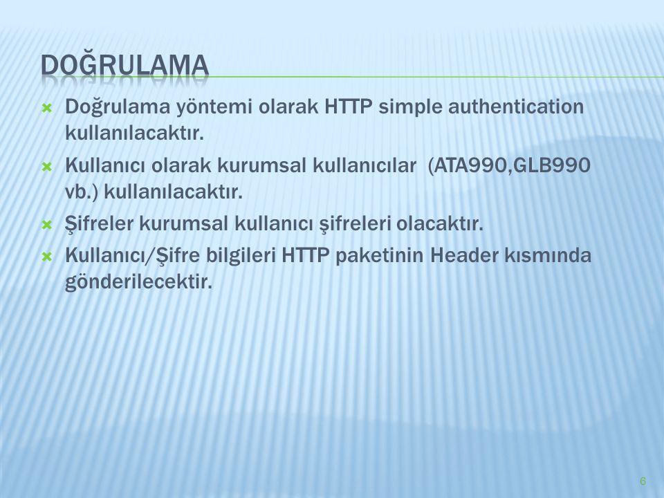  Doğrulama yöntemi olarak HTTP simple authentication kullanılacaktır.  Kullanıcı olarak kurumsal kullanıcılar (ATA990,GLB990 vb.) kullanılacaktır. 