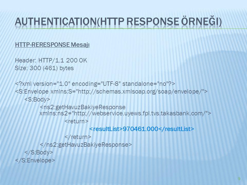 HTTP-RERESPONSE Mesajı Header: HTTP/1.1 200 OK Size: 300 (461) bytes 970461.000 9