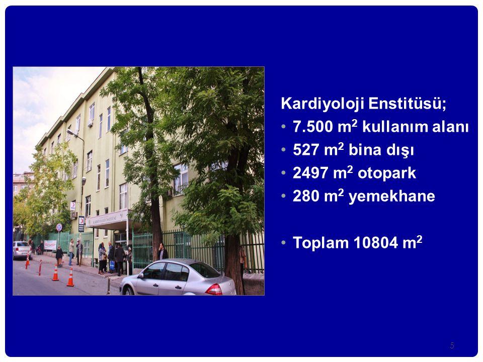 5 Kardiyoloji Enstitüsü; •7.500 m 2 kullanım alanı •527 m 2 bina dışı •2497 m 2 otopark •280 m 2 yemekhane •Toplam 10804 m 2
