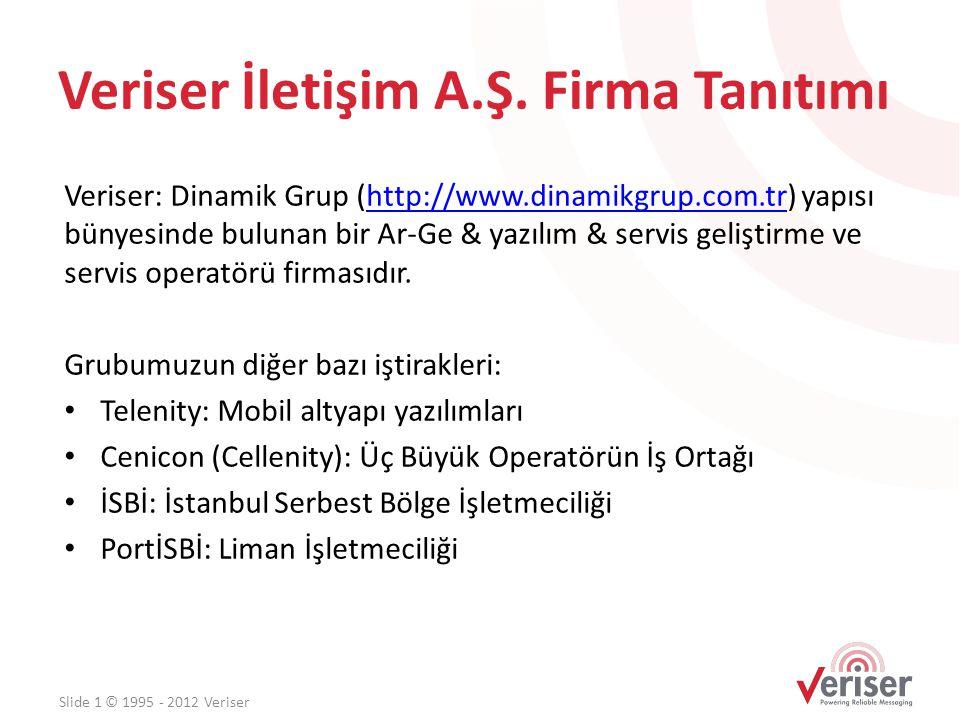 Veriser İletişim A.Ş. Firma Tanıtımı Veriser: Dinamik Grup (http://www.dinamikgrup.com.tr) yapısı bünyesinde bulunan bir Ar-Ge & yazılım & servis geli