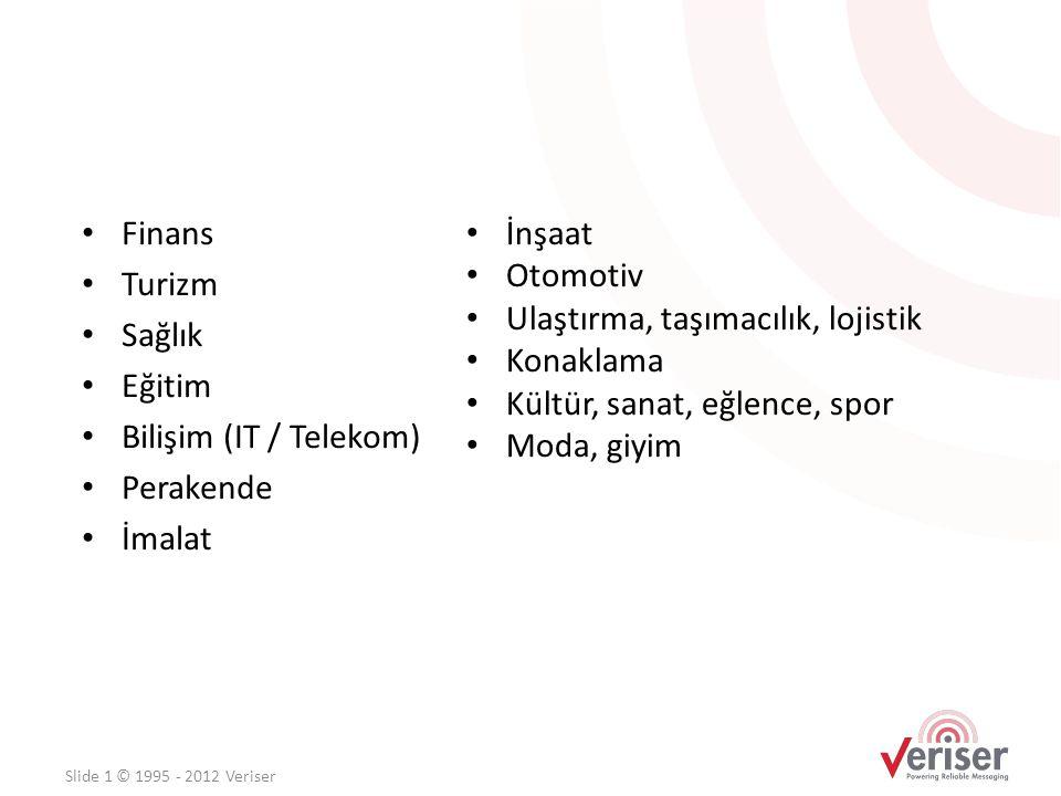 • Finans • Turizm • Sağlık • Eğitim • Bilişim (IT / Telekom) • Perakende • İmalat Slide 1 © 1995 - 2012 Veriser • İnşaat • Otomotiv • Ulaştırma, taşım
