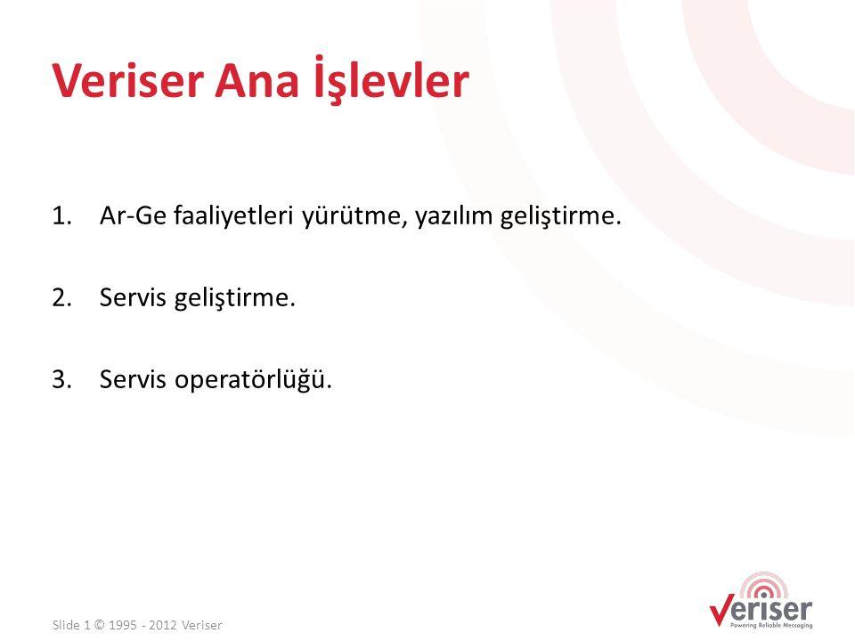 Veriser Ana İşlevler 1.Ar-Ge faaliyetleri yürütme, yazılım geliştirme. 2.Servis geliştirme. 3.Servis operatörlüğü. Slide 1 © 1995 - 2012 Veriser