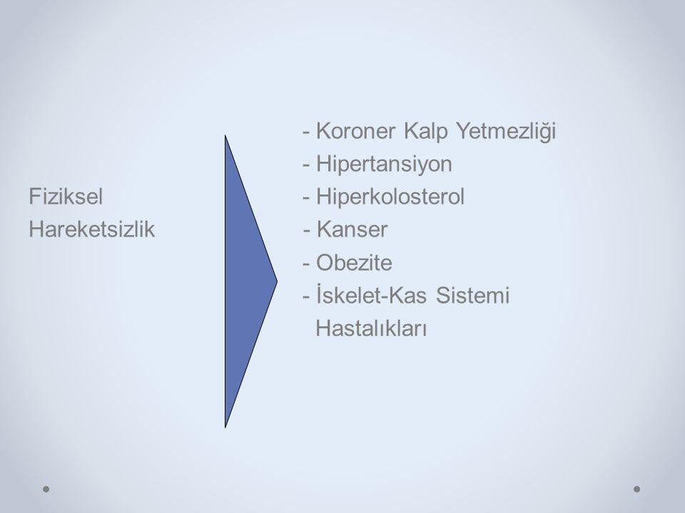 - Koroner Kalp Yetmezliği - Hipertansiyon Fiziksel - Hiperkolosterol Hareketsizlik - Kanser - Obezite - İskelet-Kas Sistemi Hastalıkları