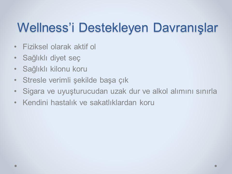 Wellness'i Destekleyen Davranışlar •Fiziksel olarak aktif ol •Sağlıklı diyet seç •Sağlıklı kilonu koru •Stresle verimli şekilde başa çık •Sigara ve uy