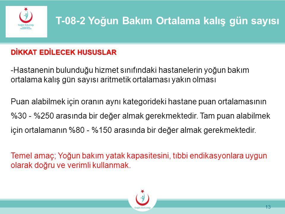 13 T-08-2 Yoğun Bakım Ortalama kalış gün sayısı DİKKAT EDİLECEK HUSUSLAR -Hastanenin bulunduğu hizmet sınıfındaki hastanelerin yoğun bakım ortalama ka