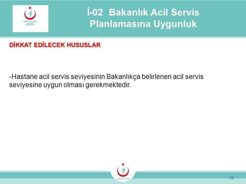 19 İ-02 Bakanlık Acil Servis Planlamasına Uygunluk DİKKAT EDİLECEK HUSUSLAR -Hastane acil servis seviyesinin Bakanlıkça belirlenen acil servis seviyes