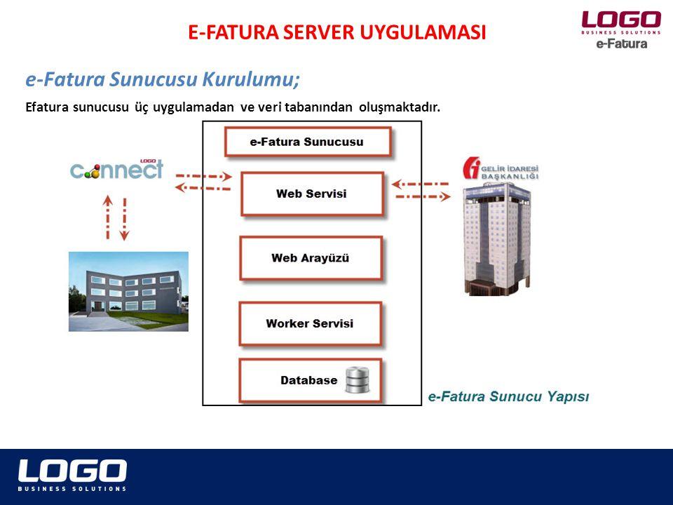 Efatura sunucusu üç uygulamadan ve veri tabanından oluşmaktadır. e-Fatura Sunucusu Kurulumu; E-FATURA SERVER UYGULAMASI